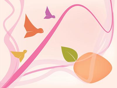 musical birds home screen ui ux website design vector minimal pink birds