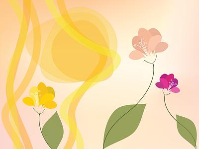 THROUGH SUMMER green spring vector minimal illustration design gold sun petals flowershop
