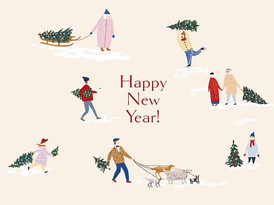 Happy New Year card art design happy new year 2021 happy new year christmas tree christmas card christmas graphic design illustraion card 2021 new year