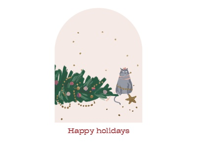 Happy holidays card snow artwork card design year 2021 christmas tree christmas card christmas new year cat illustration art art illustraion card