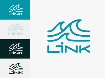 Link logo watersports surfing ocean waves branding logo design