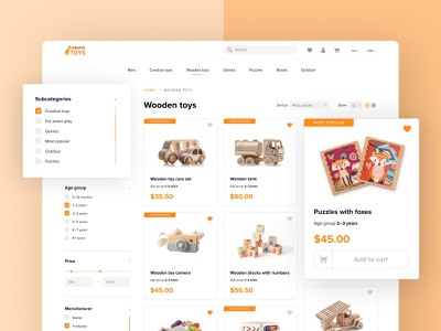 E-commerce website toys shopping e-commerce web ux ui design