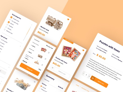 E-commerce website shopping design cards ui toys web e-commerce ux ui
