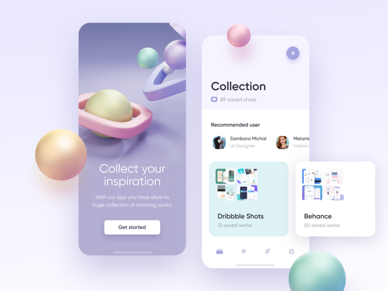 Collection app app ui ios mobile clean 3d art buckets inspiration colorful blender blender3d shapes illustration 3d collection