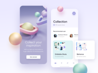 Collection app app ui ios mobile clean 3d art buckets inspiration colorful blender blender3d shapes illustration 3d collection
