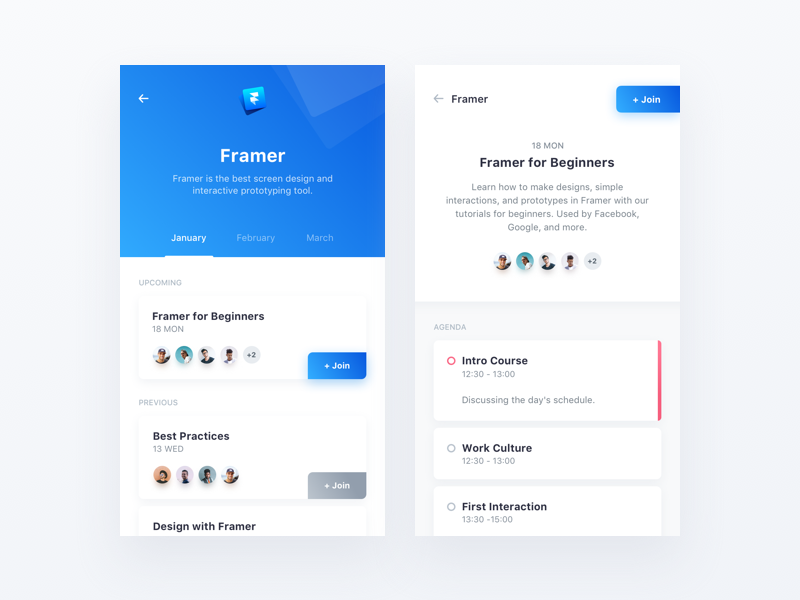 Design Related App sketch agenda clean minimal interface event framer blue app