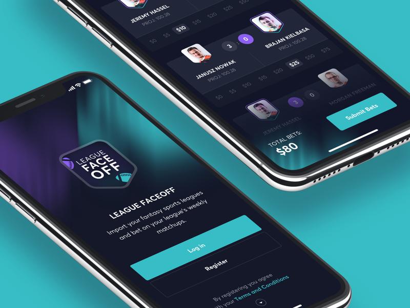League FaceOff App dark sport game bets bet ux ui ios app