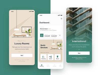 Hotel App Service App maise ui service room booking loft hotel app minimal clean elegant onboarding travel interior concierge hotel app