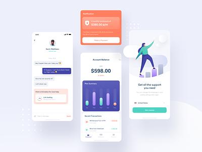 Finance App finance app wallet balance chat illustration fintech finance money clean ios ui app