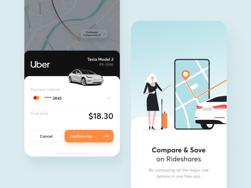 Compare & Save Money on Rideshares onboarding navigation travel share trip maise ride money comapre ios tesla transport map drive taxi uber rideshare car app