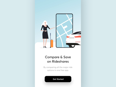 Compare Rideshare App Animation travel uber trip tesla transport taxi share rideshare ride onboarding navigation map maise ios drive motion animation car app