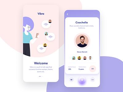Vibra - walkie talkie app ui mobile chat communication clean ui light clean iphone talk walkie talkie walkietalkie ios app