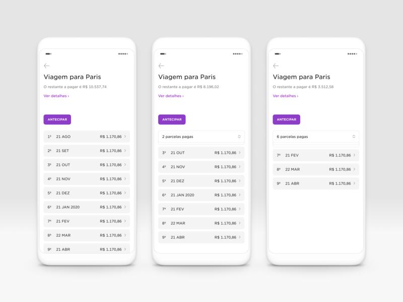 Nubank's loan details screen minimalist fintech clean ui design figma mobile design