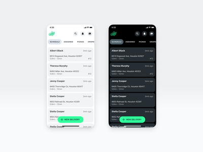 Delivery fleet's dark and light modes iphone x rounded figma clean dark mode ui design mobile design