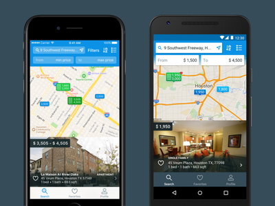 HAR Rentals' Search Screen - iOS vs. Android real estate app design mobile design mobile interface android app mobile ui ios
