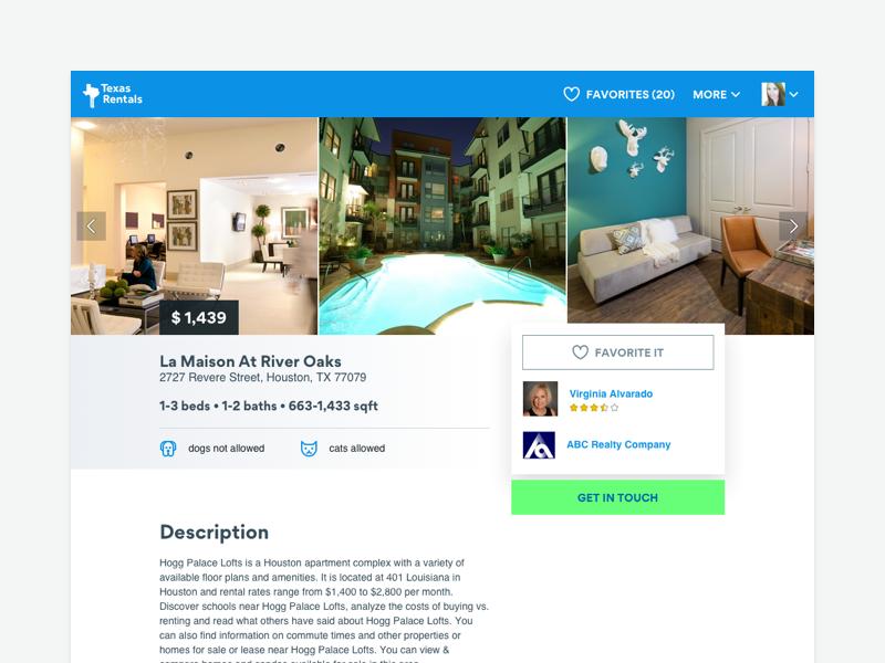 Har Rentals - Listing Page real estate web design minimalist clean web