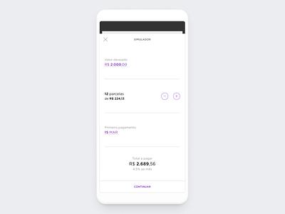 Personal loan's simulator screen fintech clean ui mobile design figma