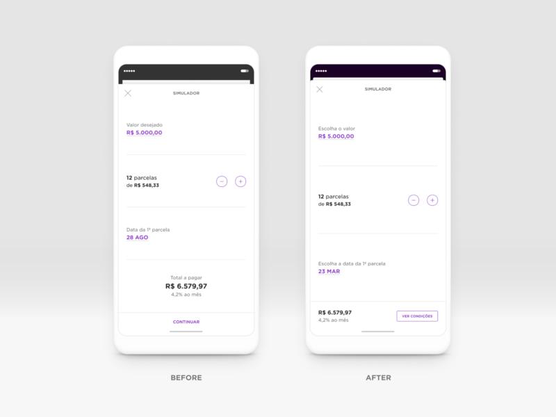 Personal loan's simulator improvements minimalist clean interface design fintech ui design figma mobile design mobile