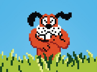 Working on a little duck hunt homage today. pixel art pixels dog duck hunt nintendo flat illustration