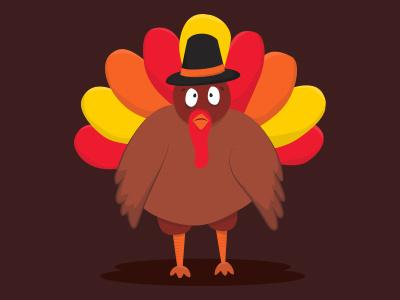 Terrance the Turkey flat illustration turkey thanksgiving