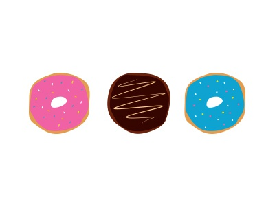 Colorful Donuts! chocolate illustration bright flat donuts food playful tasty