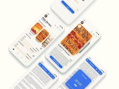 Book Reader App UI uiux pdf mockup reader books clean app ebook ios