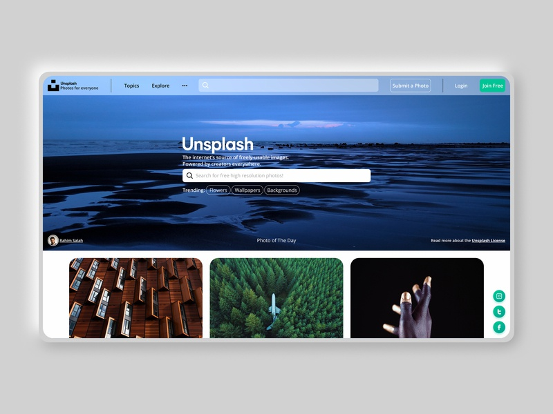 Re-designed Unsplash Homepage dailyui website design unsplash redesign stock photos branding challenge clean ui photography webdesign