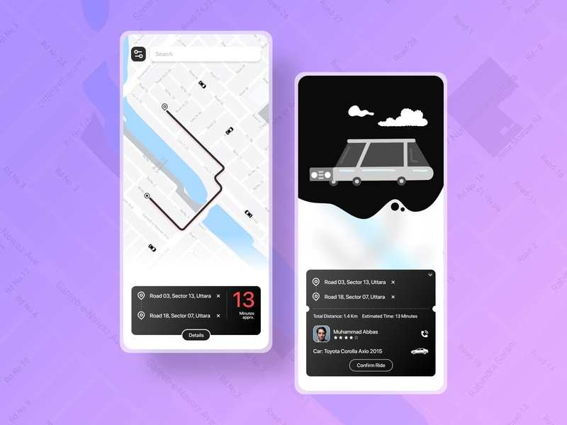 Ride Sharing App UI maps uidesign illustration blackandwhite clean rideshare ios app challenge ui ridesharing