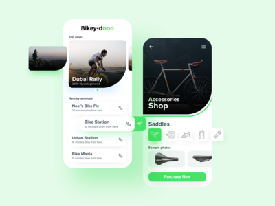 Bike Accessories Shop App uiuxdesigner adobexd figma tools green logo minimalist clean ui bike uiux uiuxdesign ux design dailyui ios daily illustration ui