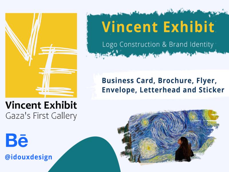 Vincent Exhibit Brand Identity sticker letterhead envelop flyer brochure design businesscard visual identity branding logo