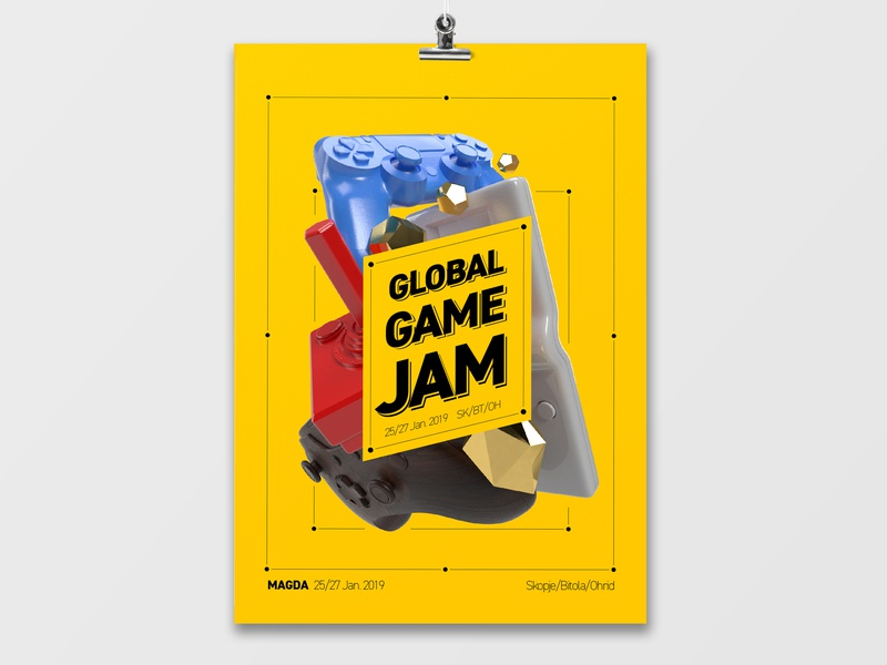 Global Game Jam Poster gaming poster 3d graphic vector typography design