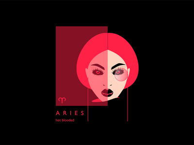 Aries graphicdesign red girl illustration girl character aries zodiac sign zodiac character illustraion