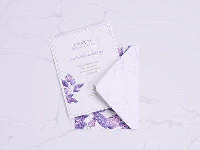 Gift card purple artwork graphic design marble floral gift voucher gift card