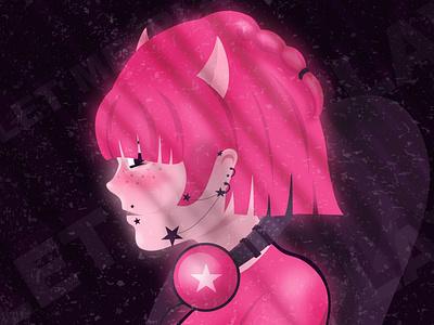 PLAYER pink purple illustration design anime girl anime anime style artwork digital illustration digital girl character girl girl illustration character design character illustration graphic design