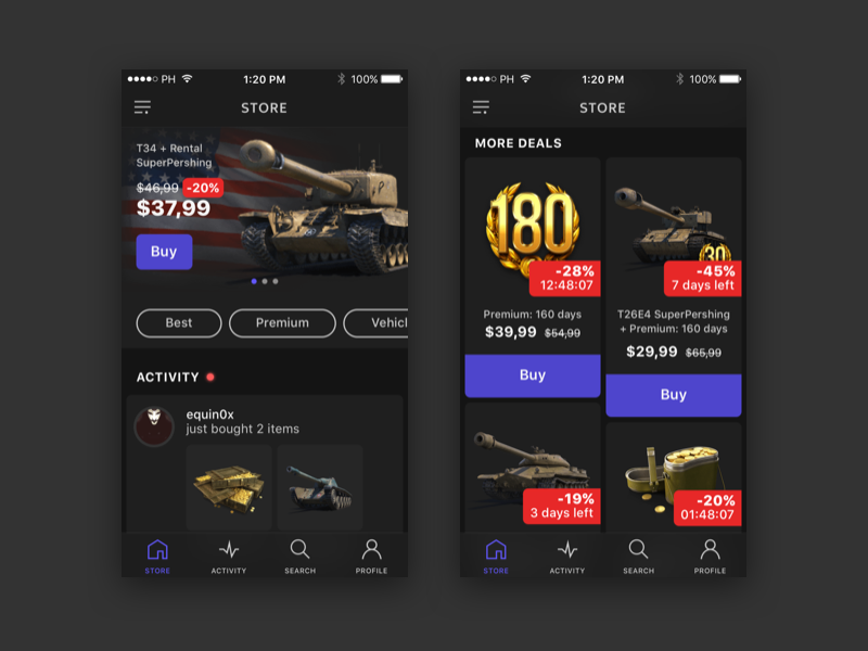 WOT IAP Store Concept esports store ecommerce in-app purchases world of tanks wot