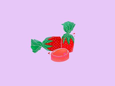 Grandma Candies procreate illustrations illustrator strawberry candies strawberry illustration