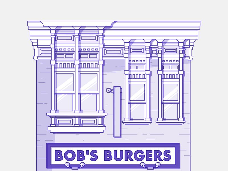 bob's burgers vector blue detail flat illustration affinity design vector bobsburgers series