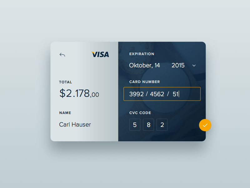 Day 2 - Credit Card Checkout dailyui design ux ui visa bank credit checkout