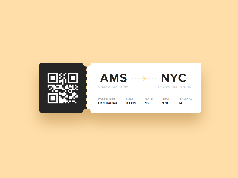 Day 24 - Boarding Pass design qr flight pass boarding ui ux dailyui