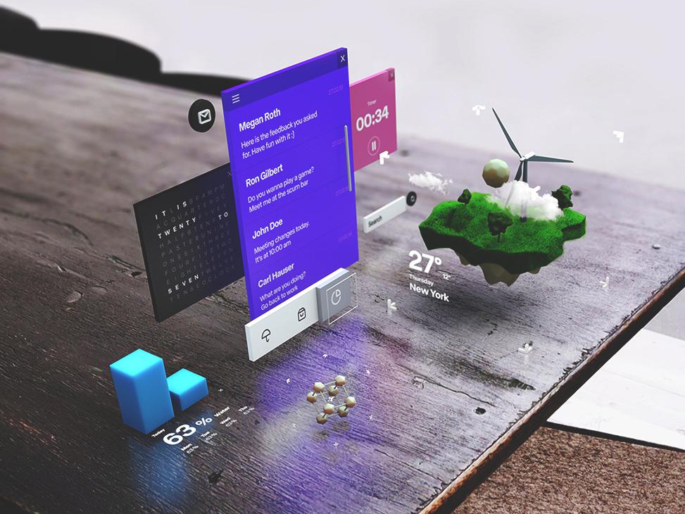 floating UI design virtualreality mr ar c4d 3d augmentedreality ux ui