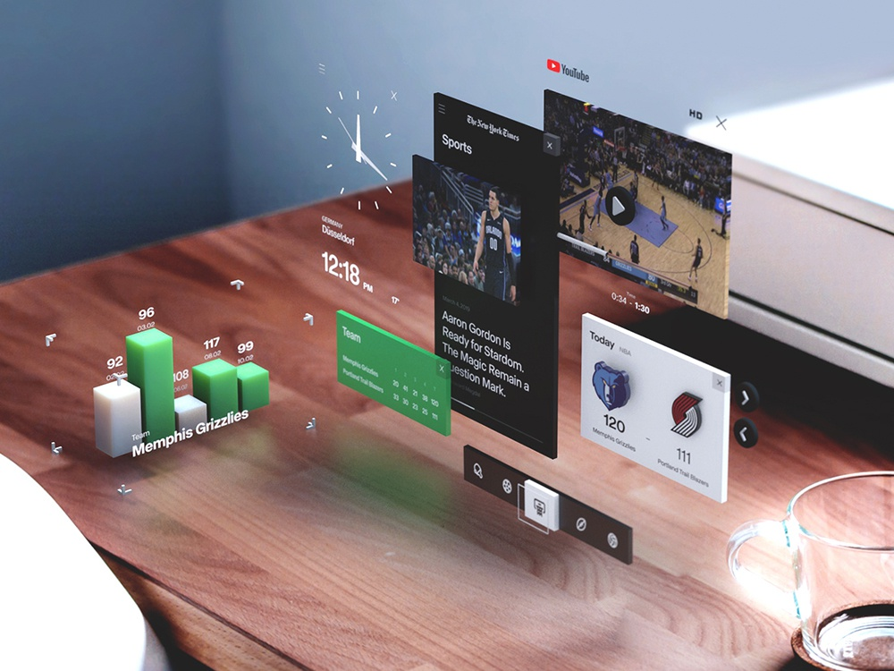MR basketball Widgets basketball sport ux ui mr ar mixedreality