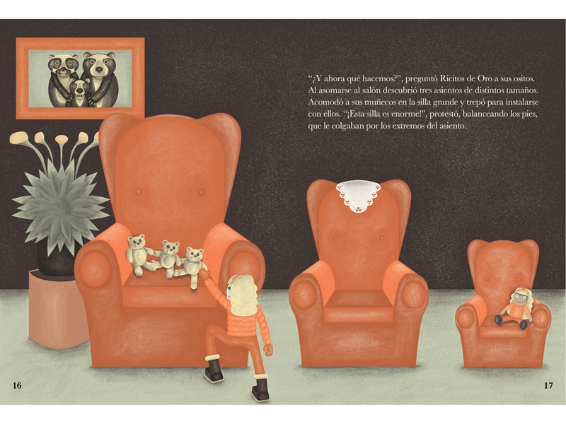 Goldilocks in the living room - double page illustration