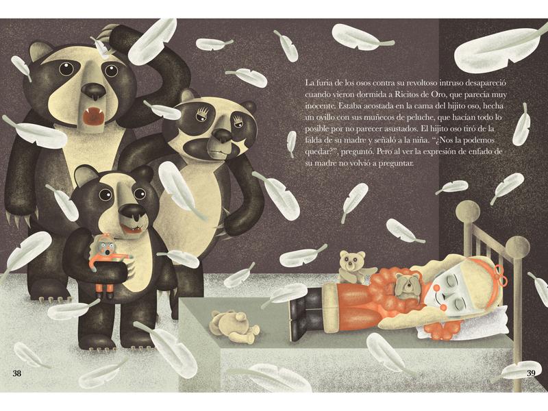 Goldilocks in bedroom - Double page illustration