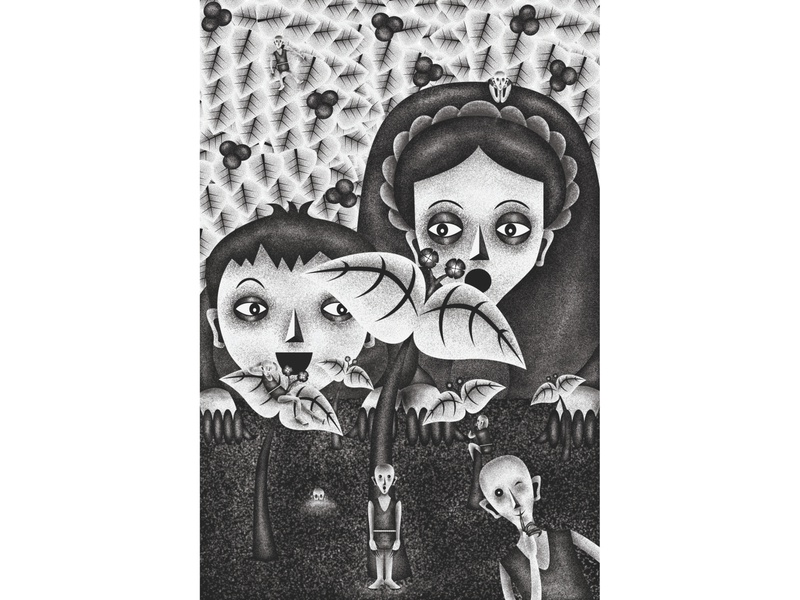 Thora and Ketil in the secret garden (single page illustration)