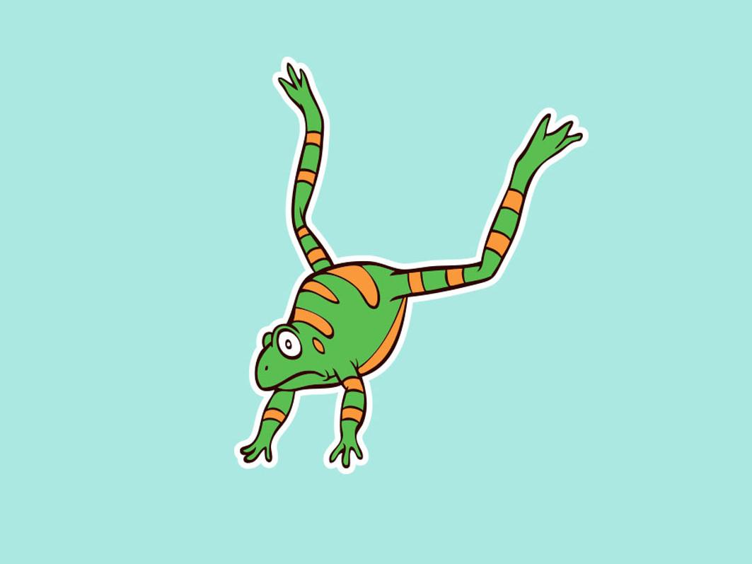 Frog scared artwork vector character design illustration