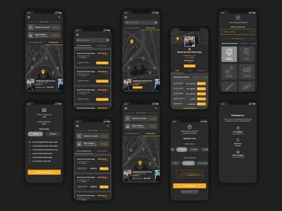 Car repair shop marketplace darkmode marketplace android ios design app mobile app interface interaction design interaction ui ux product design