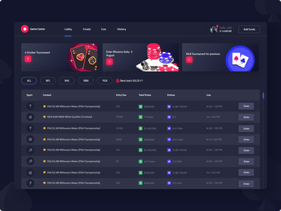 gambling platform product design interface ux ui design casino games games roulette blackjack tournament casino dashboard ui dashboad gambling design gambling