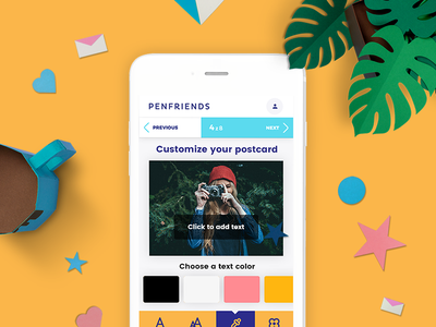 Penfriends  ui ux postcard app mobile