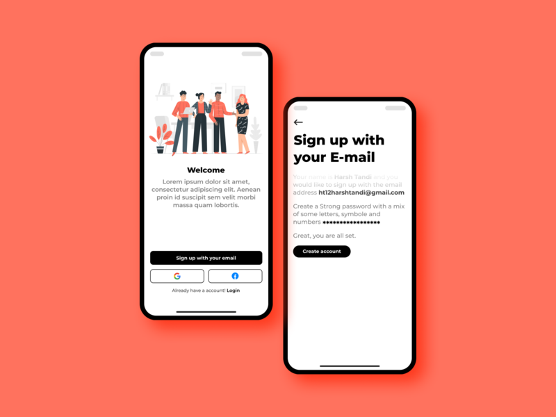 Sign up Screen vector typography ui minimal illustration dribbble concept