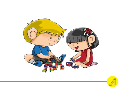 play with educational toy - 2 flat vector illustration